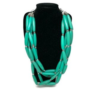 Chico's Green Bead Layered Chunky Necklace